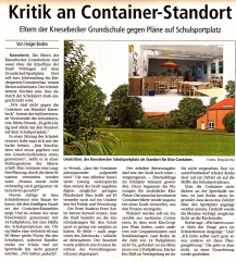 Kritik am Containerstandort